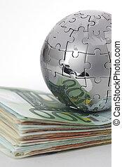 钱, 全球, 金属, 背景, 白色, 难题