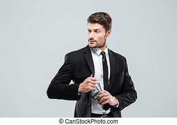 钱, 口袋, 领带, 严肃, 衣服, 商人, 掩藏