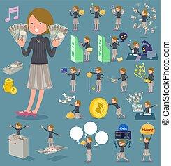 钱, 头发, 妇女, 短, 套间, 类型