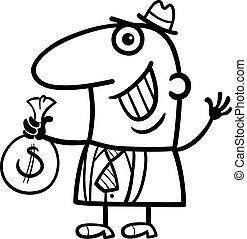 钱, 开心, 卡通漫画, 人