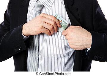 钱, 隔离, 口袋, 放, 背景, 商人, 白色
