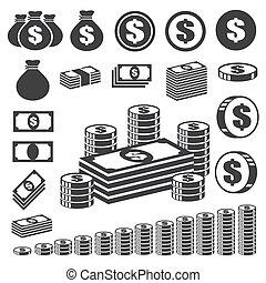 钱, set., 硬币, 图标