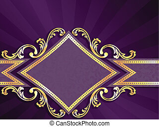 钻石, 金子, 成形, 紫色, &, 旗帜