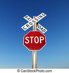 铁路, 同时,, 停止, 标志。