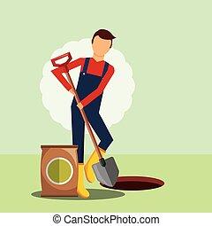 铁锨, 园艺, 形象, 挖掘, 洞, 园丁