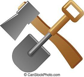 铁锨, 签署, 斧子