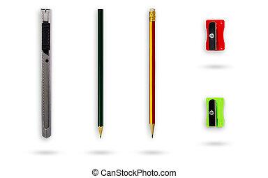 铅笔, 剪下的资料, 放置, 不锈, 隔离, 磨具, 写仪器, 设备, 背景, 包括, 白色, path., 或者, cutter.
