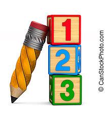 铅笔, 数字, 描述, 隔离, 背景。, 白色, 块, 3d