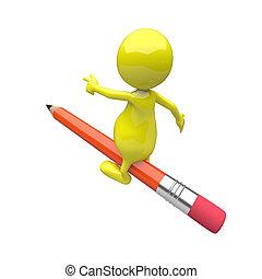 铅笔, 骑, 3d, 人们