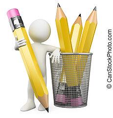 铅笔, 3d, 持有人, 人, 倾斜