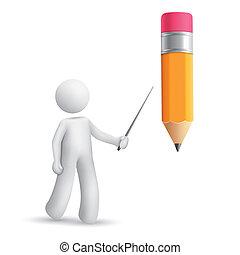 铅笔, 3d, 指, 人