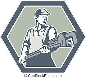 铅锤测量, 水暖工, wrench, 握住, retro