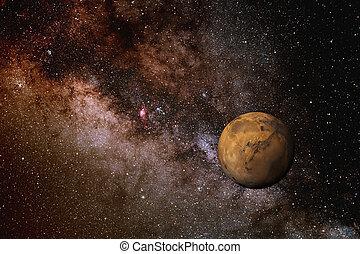 银河, 同时,, 火星