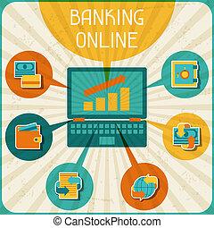 银行业务, infographic., 以联机方式