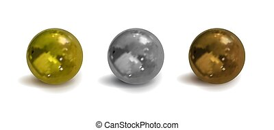 银, chrom, 遮蔽, 隔离, 描述, 矢量, 发亮, material., 3d, 颜色, 金属, 球, 青铜, 现实, 放置, 金色