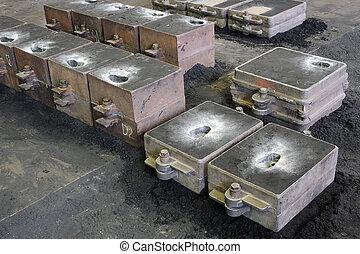 铸造, 铸造, 扔, 长颈瓶, 沙子, 铸造厂