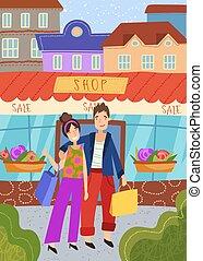 销售, 站, 年鉴, 在外面, 年轻, 购物, 夫妇, 商店, 一起, 胳臂
