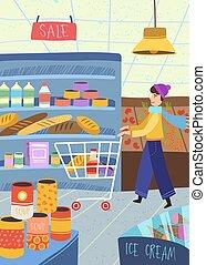 销售, 袋子, 站, 年鉴, 在外, 或者, 在外面, 年轻, 购物, 夫妇, 握住, 商店, 一起, 胳臂, 购买