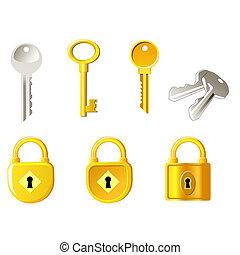 锁, 同时,, 钥匙