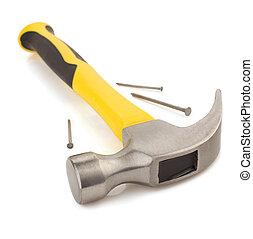 锤子, 工具, 在怀特上, 背景