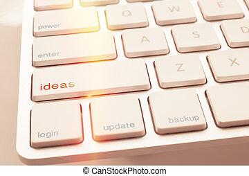 键盘, 想法, 计算机, 点燃, 钥匙, 在下面, 火花