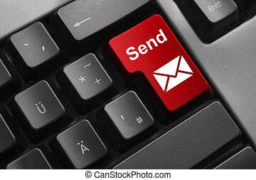 键盘, 红的按钮, 送, 邮件