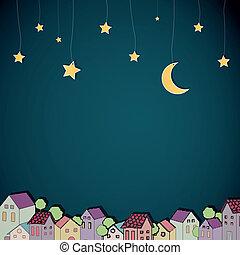 镇, 矢量, 夜晚