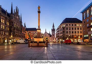 镇, 老, bavaria, marienplatz, munich, 德国, 早晨, 大厅