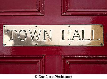 镇, 黄铜, 大厅, 签署