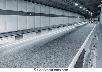 長い道のり, 都市, tunnel., 暗い
