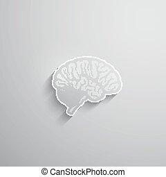 長い間, ペーパー, 脳, ベクトル, イラスト, 人間, 影, 3d