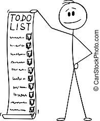 長い間, 人, ベクトル, 保有物, 仕事, イラスト, リスト, ビジネスマン, to-do, 漫画, ∥あるいは...