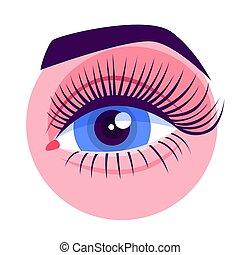 長い間, 拡張, 目, eyelashes., 美しい, 女性, まつげ