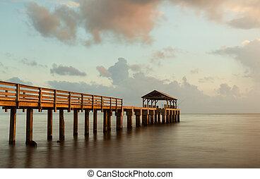 長い間, 桟橋, waimea, kauai, さらされること