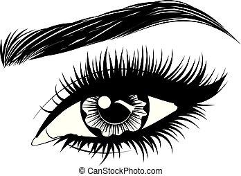 長い間, 眉, まつげ, 目