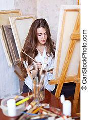 長い髪, 芸術家, ペンキ, 上に, キャンバス