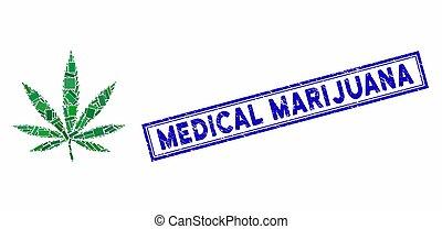 長方形, 葉, インド大麻, 苦脳, マリファナ, コラージュ, 医学, シール