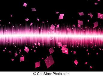 長方形, 隔離された, 黒, 抽象的, galaxy., soundwave