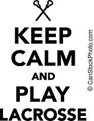 長曲棍球, 玩, 平靜, 保持
