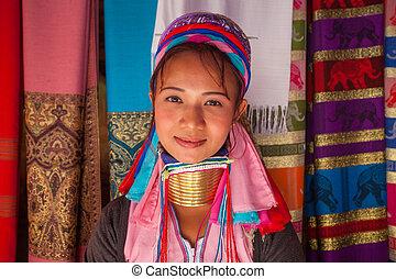長脖子, 婦女, 在, 傳統, 服裝