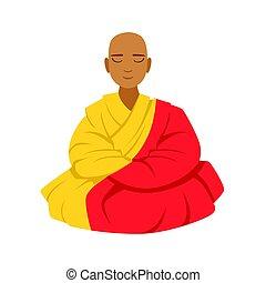 長袍, 鮮艷, 蓮花, 佛教徒, 字, 僧侶, 插圖, 矢量, 位置, 西藏人