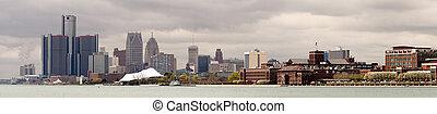 長, 全景, 底特律, 密執安, 河, 市區, 城市地平線