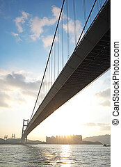 長, 橋梁, 在, 傍晚, 小時