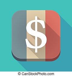 長, 陰影, 法國旗子, 由于, 一美元, 簽署