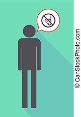 長, 陰影, 男性, pictogram, 由于, a, 跳水, 眼鏡, 以及, a, 水下通气管, 在, a, 沒允許, 信號