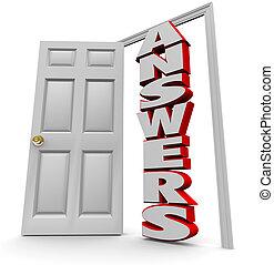 門口, 到, 回答, -, 打開門, 到, 回答, 問題