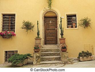 門口, 到, the, tuscan, 房子