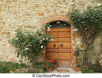 門口, 裝飾, 由于, 攀登, 玫瑰, 到, the, tuscan, 房子