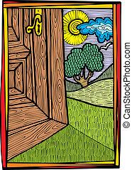 門打開, 為, 自然