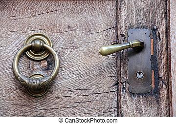門把手, 以及, 門環, 上, 老, 木制的門